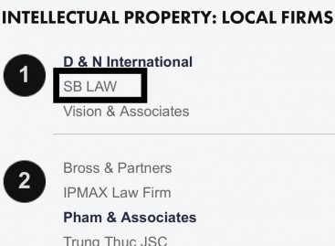 SBLAW Is Ranked Top 1 In The Field Of Intellectual Property By The Legal 500